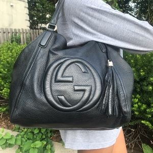 Authentic Gucci Pebbled Calfskin Soho shoulder bag